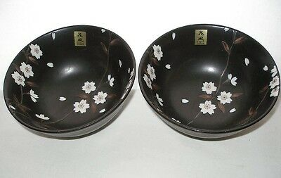 New BREATHTAKING BLOSSOMS Art Pottery BOWL PAIR Incredibly Elegant KAFUH LABELS