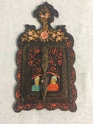 Antique Vintage Persian Black Lacquer Wood Hand Mirror Painted Panel Doors Iran