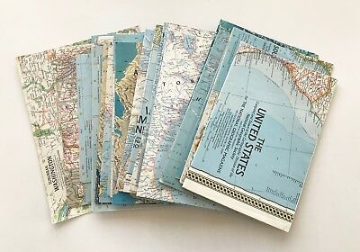 Lot (27) National Geographics Map Inserts - All Different