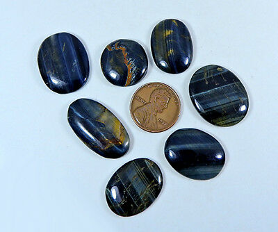 Natural Blue Tiger eye Cabochon Gemstone Lot 7pcs. Oval 99.85cts.;#99839