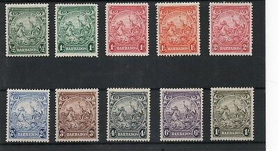 Barbados GV1 1938-47 10 vals. to 1s H.Mint