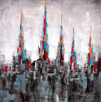 """Citadel Due"" Abstract Cityscape Acrylic Painted Canvas Wall Art Decor Room Home"
