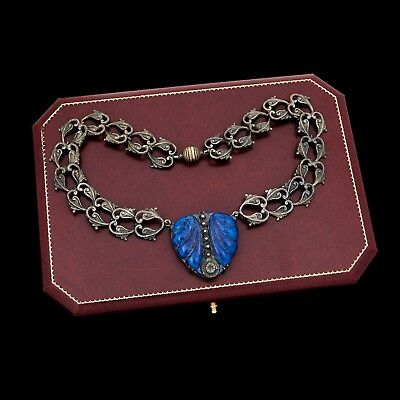 Antique Vintage Art Nouveau Sterling Silver Neo-Classical Lapis Lazuli Necklace