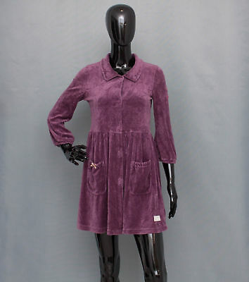 ODD MOLLY Purple Velour Collared Dress 3/4 Sleeve Lace Butterfly On Back Size 1