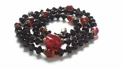 Czech Vintage Art Deco Brown And Pink Glass Bead Necklace