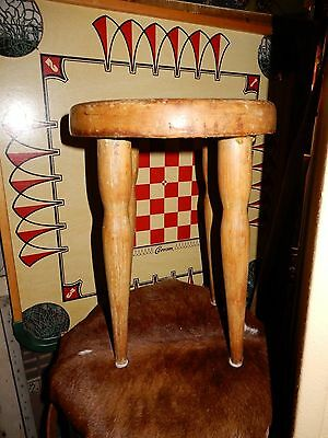 GREAT Primitive Small Wood Milking Stool Painted H 16""