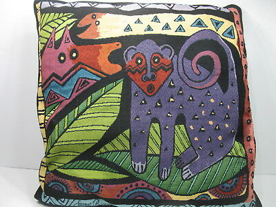 """Laurel Burch Friends Of Amazonia Jungle Decorative Tapestry Throw Pillow 18""""x18"""""""