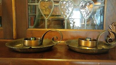 Pair Antique 1920s Arts Crafts Craftsman Studios LA Copper Candle Chambersticks