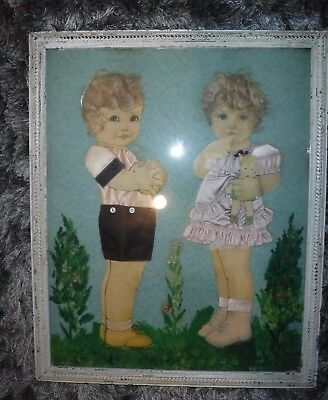 Vintage 1920's ? Real Hair Ribbon Paper Cut Out Boy Girl & Baby Doll Framed Art