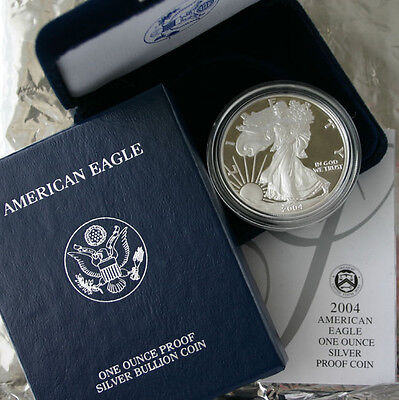 2004 AMERICAN SILVER EAGLE PROOF DOLLAR US Mint ASE Coin with Box and COA