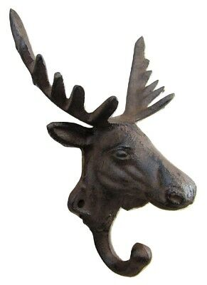 New Antique-Style Rustic 3-D Moose Cast Iron Coat Hook Cabin Wall Mount Hardware