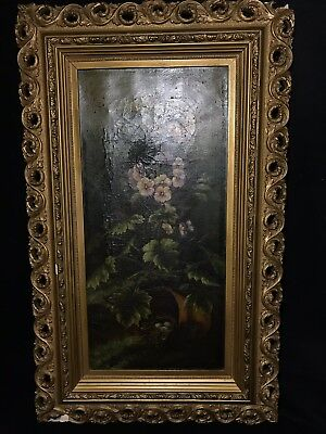 c.1886 Antique Oil On Canvas Painting FLORAL STILL LIFE Signed/Dated