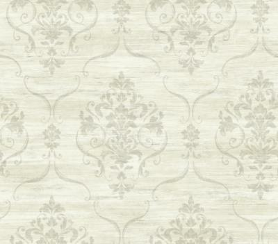 Wallpaper Designer Gray Damask on Pale Gray and Eggshell White Faux