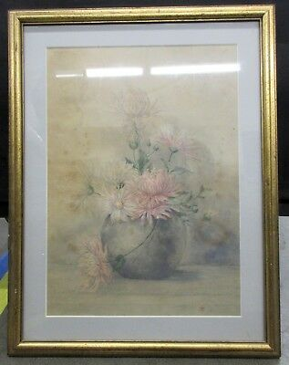 "1894 Watercolor Of Pale Pink Dahlias Still Life Of Flowers In Vase Signed "" AT"""