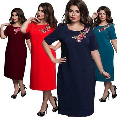 Women Office Evening Party Dress Summer Plus size Floral Embroidery Dress L-6XL