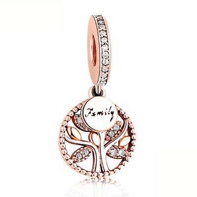 CHARM BEAD 925 Sterling Rose Gold Family Tree Silver Pandora Authentic Dangle