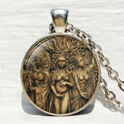 Silver Triple Goddess Pendant Lucky Moon Goddess Wiccan Necklace Jewelry Gift