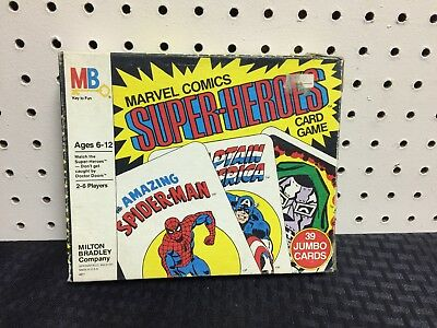 Milton Bradley Marvel Super-Heroes Card Game Complete in Box Rules  1978 MB