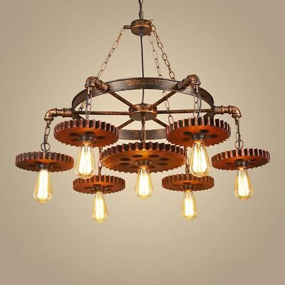 Vintage Retro Industrial Chandelier Iron Pendant Light Metal Gear Ceiling Lamp