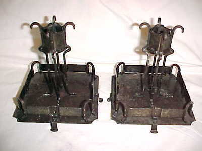 Arts & Crafts Handmade Hammered Wrought Iron Candlesticks Spanish Revival Gothic