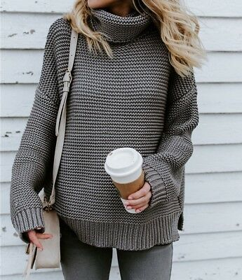 5a756b576a8b Ladies Womens Casual Cowl Roll Neck Chunky Knitted Oversized Jumper Sweater