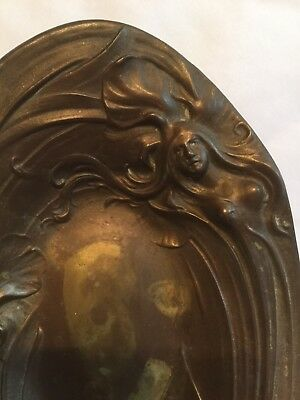 Antique Or Vintage Art Nouveau Lady Sculpture In Brass Or Bronze Pin Tray