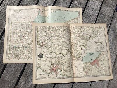 "Lot Of 2 Antique 1897 Maps from New Century Atlas 16""X11"" North & South OHIO"