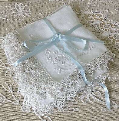 Set 10 Vintage White Linen Napkins Hand Tatting Lace Cutwork Embroidery Antique