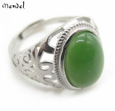 Mens Sterling Silver Genuine A Grade Chinese Green Jade Ring Vintage Stone Band