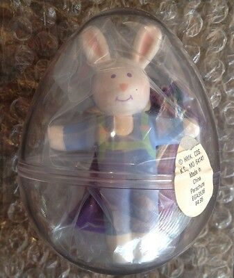 vintage '80s Hallmark BUNNY PARACHUTE plastic egg container STOCKING STUFFER TOY