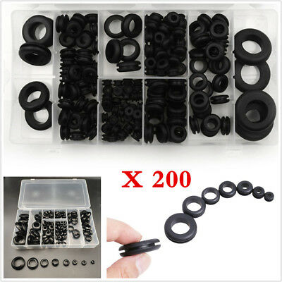 200X Car Rubber Grommet Assortment Firewall Hole Plug Electrical Wire Gasket Kit