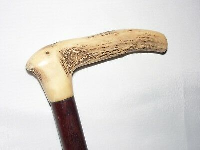 ANTIQUE WOODEN WALKING STICK CANE Vintage late 1800's STAG