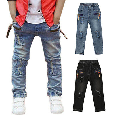 US Toddler Boy Girl Cool Hole Patch Jeans Child Denim Long Pant Trousers Clothes