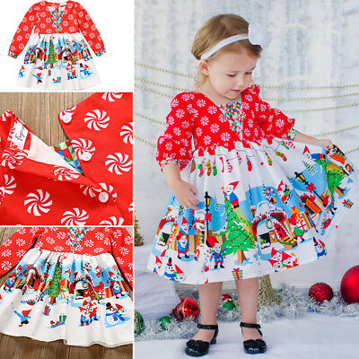 UK Toddler Baby Girls Kids Winter Princess Christmas Dress Party Dresses Outfits