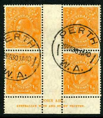 Australia GV 1/2d - SM Wmk - ASH Imprint Block of 4 - Very Fine Used