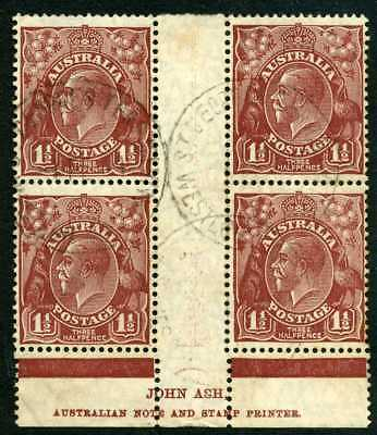 Australia GV 1 1/2d brown - SM Wmk - ASH Imprint Block of 4 - Fine Used