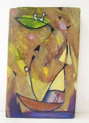 "Diane Culhane ""Lift Off"" Tiny Modern Abstract Sailboat Acrylic Painting on Wood"