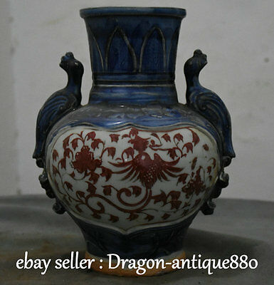 "10"" Collect Old Chinese Red White Blue Porcelain Phoenix Bird Handle Flower Vase"
