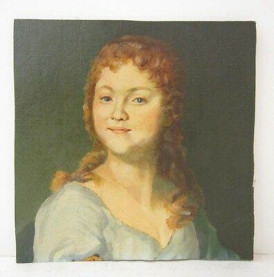I. Temirow Signed VTG Oil Painting Classical Style Portrait of a Smiling Lady