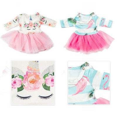 US Unicorn Cotton Tulle Casual Party Dress Clothes for 18inch  Girl Doll