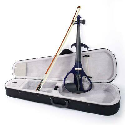 4/4 Electric Violin Silent Ebony parts Free Case+Bow Cable Rosin Headphone