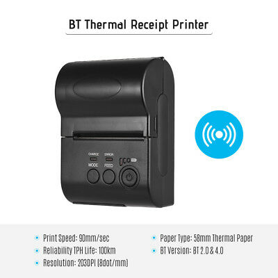 BT Mini 58mm POS Thermal Dot Receipt Bill Printer Set Roll Paper POS-5801DD C7W8