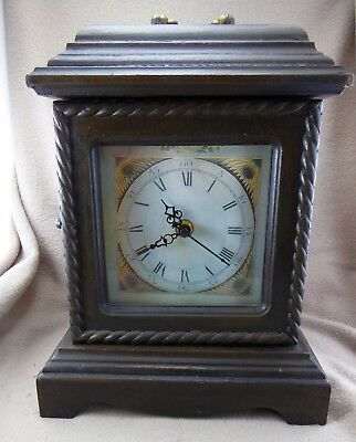Retro Antique Style Wooden Bracket Clock with Secret Jewellery Drawers