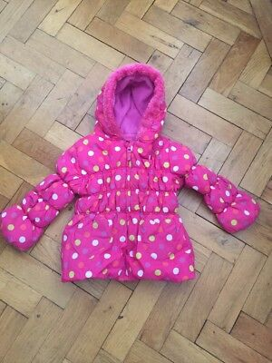 Hot Pink Spotty Girls Jacket, Fleece Lined With Faux Fur Trim Hood - Size 3-4 Yr