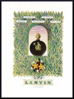 1946 ORIGINAL FRENCH VINTAGE ADVERT / PRINT Lanvin Perfume Ad by NATHAN (2121)