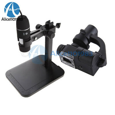 Digital 1000X USB Microscope 2MP 8 LED Endoscope 90X Magnifier Camera+Lift Stand