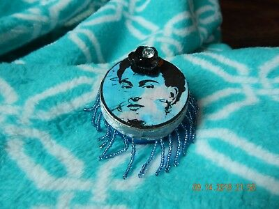 Frida Kahlo Hand Decorated Round Tin Box - Blue w/Pink Paper Flower