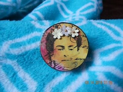 Frida Kahlo Hand Decorated Round Tin Box - yellow/pink w/paper flower