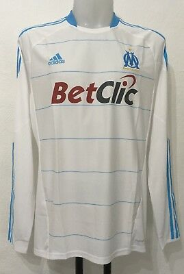 Olympic Marseille Player Issue 2009/10 L/s Home Shirt By Adidas Size Men's Xl