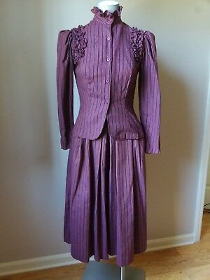 STEAMPUNK LOOK  Suit 2 Pc Ladies Stripped Maroon Vtg 1970s 80s S XS FANTASTIC
